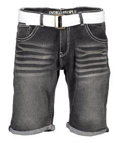 Look what I found on Black Whiskered Denim Shorts & Belt - Men's Regular Summer Shorts Outfits, Short Outfits, Denim Shorts, Belt, Indigo, Black, People, Products, Fashion