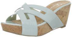 Delman Women's Carla Platform Sandal,Light Mint Patent,7.5 B US. Coastal cork adds a summery-style factor to this strappy sandal.