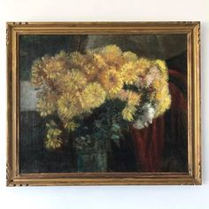 Exquisite Parisian still life painting A glass vase is overflowing with yellow blooms on a dark ground; a chintz of soft sun light is entering the room from the. Floral Paintings, Yellow Flowers, Vintage Art, Parisian, Still Life, Oil On Canvas, Glass Vase, Bloom, Carving