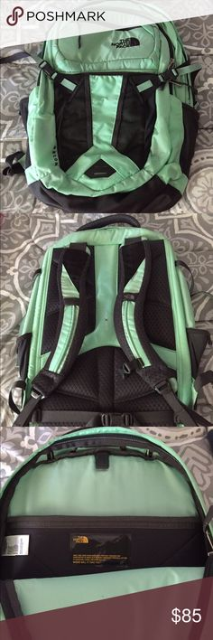 "North Face Recon Backpack Only used for about half a semester, no blemishes on the outside. One little pen mark in the second compartment. It's ""Surf Green"" or mint kind of. It looks more mint in person than it does in the picture! Make me an offer :) cheaper on Merc. North Face Bags Backpacks"
