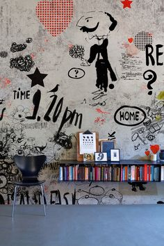 wall// as a kid and teen i did this to my parents basemant walls, but the basemant was officially my art studio.
