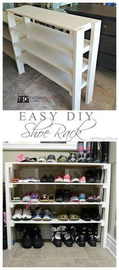 DIY Shoe Rack Easy DIY shoe rack that you can customize to fit as many shoes (of as many heights) as you like! Easy DIY shoe rack, build your own shoe rack, DIY shoe rack, mudroom storage Diy Shoe Storage, Diy Shoe Rack, Closet Storage, Shoe Racks, Storage Hacks, Bedroom Storage, Garage Shoe Rack, Wood Shoe Rack, Diy Shoe Shelf