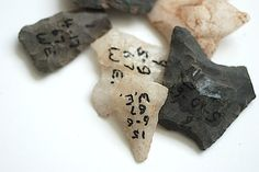 Lot of Seven Antique Stone Arrowheads 1960 Mid by TheNewtonLabel