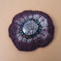 Purple Grey Felted Flower  Brooch