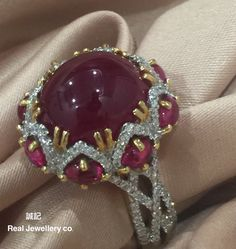 Cabochon Burma Ruby with diamonds ring 。誠記 Real Jewellery co.