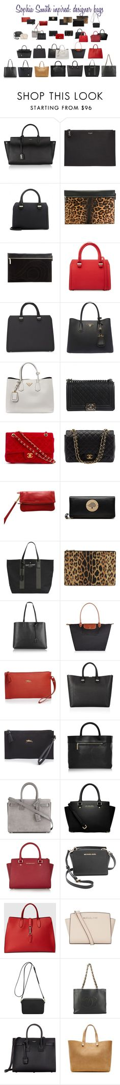 """""""Sophia Smith inspired: designer bags"""" by alwayswearwhatyouwanttowear ❤ liked on Polyvore featuring Yves Saint Laurent, Victoria Beckham, Prada, Chanel, Burberry, Mulberry, Givenchy, Longchamp, MICHAEL Michael Kors and Gucci"""