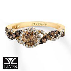 LeVian Chocolate Diamonds 3/4 ct tw Ring 14K Honey Gold