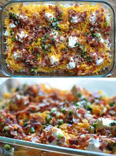 Ideal for breakfast, dinner, or anytime in between, this Cheesy Bacon Potato Casserole is a delicious dish bursting with cheesy goodness your family is sure to love. Potato Dishes, Potato Recipes, Food Dishes, Side Dishes, Main Dishes, Chicken Recipes, Bacon Potato Casserole, Casserole Recipes, Cauliflower Casserole