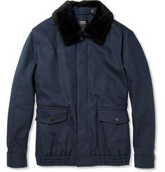 A.P.C.Shearling-Collar Cotton-Blend Bomber Jacket MR PORTER