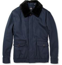 A.P.C. Shearling-Collar Cotton-Blend Bomber Jacket | MR PORTER