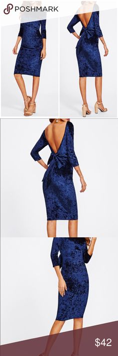 Bow Deep V Back Crushed Velvet Dress Style : Party, Sexy Occasion : Party, Night Out Type : Pencil Decoration : Backless, Bow Color : Navy, Bright Material : 95% Polyester, 5% Spandex Pattern Type : Plain Silhouette : Bodycon Clothing Type : Slim Hem Shaped : Pencil Neckline : Boat Neck Sleeve Length : Three Quarter Length Sleeve Dresses Length : Knee Length Fabric : Fabric has some stretch Waist Line : Natural Season : Spring, Fall Dresses Backless