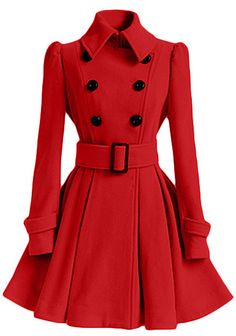 Best selection ever to get with One week delivery&easy refund! The red romantic lapel coat is detailed with pleated bottom, waist belt&double breast. Stand out in the crowd Now.