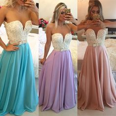 2017 Chiffon Prom Dresses With Pearls Top Sheer Open Back Long Lavender Dress Blue Evening Gowns For Teens Prom 2016, Prom Dresses 2016, Prom Dresses Blue, Party Dresses, Gowns 2017, Chiffon Dresses, Prom Gowns, Quinceanera Dresses, Long Dresses