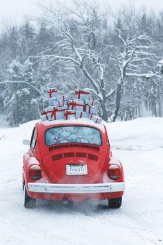 ☮ American Hippie Art ☮  Holiday .. Christmas VW