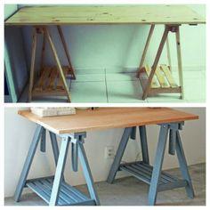 Mesa de escritório feita com madeira reciclada.
