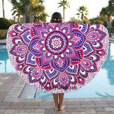 Indian Round Mandala Throw Hippie Tapestry Yoga Mat Boho Beach Wall Hanging Art #Handmade #Traditional #BeachThrowYogaMatTableCoverWallHanging