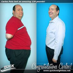 """Congratulations to Carlos Polo from Miami, Florida for losing an amazing 139 pounds on the Quick Weight Loss Centers program!  """"When I started the Quick Weight Loss program, it was because my wife and daughter forced me to. I was not expecting any results, so I was the first one surprised by the great results I achieved! I was surprised that I was losing weight without feeling hungry, and I loved that the program adapts to the needs of the individual on a day to day basis."""" -Carlos."""