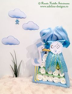 Diaper stork bundle - baby shower gift, new baby gift Stork, New Baby Gifts, Baby Shower Gifts, New Baby Products, Diapers, Disney Princess, Children, Cake, Design
