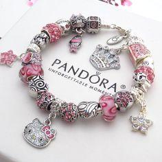 Authentic Pandora Silver Bracelet with Charms Pink Hello Kitty Princess Heart #AuthenticPandoraBraceletwithUnbrandedCharms #European