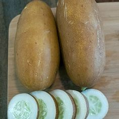 The Brown Russian cucumber looks like it came from another planet, and is fitting because the taste is out of this world! Cucumber Seeds, Larder, Brown Skin, Harvest, Crisp, Herbalism, Things To Come, Bitterness, Vegetables