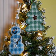 Plastic Canvas: Pretty in Plaid -- 2-Sided Ornaments (snowman and Christmas tree) by ReadySetSewbyEvie, $6.00