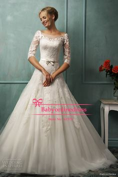 Sexy Illusion Bateau Half Sleeve Applique Lace A Line Tulle Wedding Dresses Princess 2014 With Open Back And Buttons Bride Gowns
