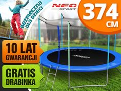 Trampolina ogrodowa 12ft/374cm z siatką wewnętrzną i drabinką Neo-Sport