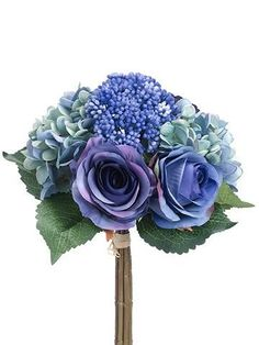 Need blue wedding flowers? Save money on silk flowers at Afloral.com, including gorgeous bridal bouquets with blue green hydrangeas and dark blue roses.