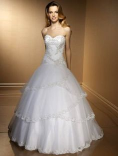 (FITS002232)Ball Gown Strapless Beading Sleeveless Chapel Train Satin Wedding Dress for Brides