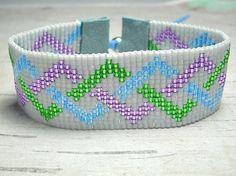 Loom Bead Bracelet, Bead Bracelet, Bead Woven Bracelet from BeadWorkBySmileyKit on Etsy. Bead Loom Bracelets, Beaded Bracelet Patterns, Woven Bracelets, Beaded Jewelry, Seed Bead Patterns, Peyote Patterns, Beading Patterns, Bead Loom Designs, Beaded Bracelets