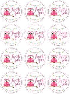 "owl ""thank you"" printables  http://howtonestforless.com/wp-content/uploads/2012/07/owl-birthday-favor-tags.jpg#"