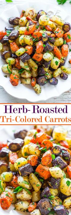 Herb-Roasted Tri-Colored Carrots - Lightly caramelized around the edges, crisp-tender in the center, and seasoned with rosemary, thyme, and parsley! A trusty side that you'll make again and again for holidays or easy weeknight dinners! Vegetable Korma Recipe, Spiral Vegetable Recipes, Vegetable Samosa, Easter Dinner Recipes, Thanksgiving Recipes, Easter Brunch, Easter Ham, Easter Food, Vegetarian Recipes