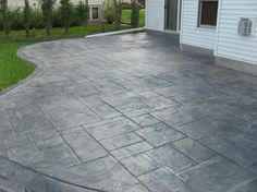Stamped concrete patterns patio ideas - When attemping to create smaller rooms, it is very important consider utilizing appropriately scaled furniture. Putting large pieces in a small space can minimize them even smaller. Poured Concrete Patio, Concrete Patio Designs, Cement Patio, Backyard Patio Designs, Backyard Landscaping, Patio Ideas, Stamped Concrete Patios, Curved Patio, Slate Patio