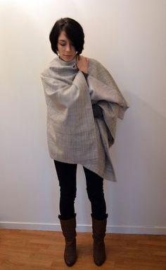 Le patron gratuit de la cape poncho. en français – in French – en francés – auf Französisch – free sewing pattern, create, craft, wool, silk, how to, comment faire, hiver, winter, project