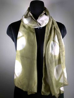Polka Dots Batik Silk Stole in Olive and Cream - Vegetable Dyed Silk Stole