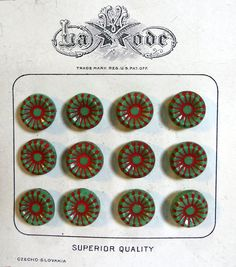 vintage glass BUTTONS czechoslovakia hand painted la mode button set - starburst star green and red - original decorative card - so art deco #buttons #vintage