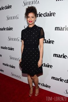 """Gugu Mbatha-Raw in Coach 1941 at the """"Fresh Faces"""" party hosted by Marie Claire celebrating the May issue cover stars in LA"""