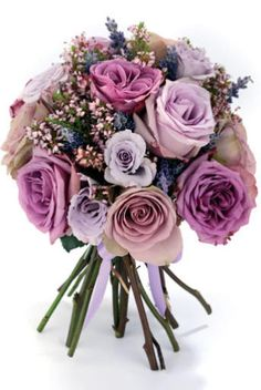 Hand-tied bouquet of 'Cool Water', 'Amnesia', 'Blue Curiosa' and 'Majolica' roses, heather and lavender, La Maison des Roses