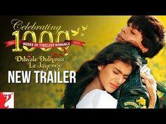 "New ""Dilwale Dulhaniya Le Jayenge"" Trailer for 1000 week anniversary of DDLJ on Dec Best Bollywood Movies, Bollywood Songs, Latest Movie Trailers, New Trailers, 1995 Movies, Good Movies, Shah Rukh Khan Movies, Most Popular Movies, Romantic Films"
