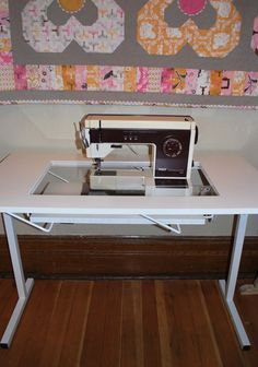 Are you sewing flush with your table? If you are not you are really missing out! It makes such a difference in how comfortable you are as well as your accuracy when stitching. In order to do this you need a special table with an opening and an insert that is specially cut for your machine. Reasonable link