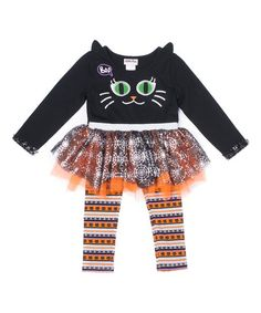 3a0747450 Little Lass Orange & Black Cat Tulle-Accent Tee & Leggings - Infant &  Toddler