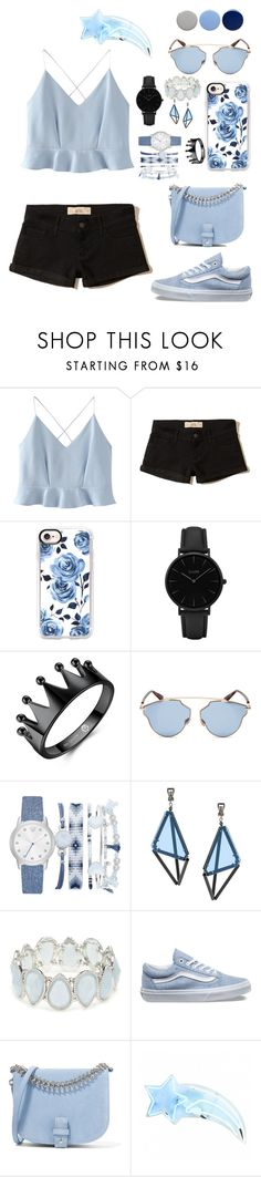 """""""I hope yo think my favorite song, the one we danced to all night long, in my old faded blue jeans"""" by gothgirl87454 ❤ liked on Polyvore featuring WithChic, Hollister Co., Casetify, CLUSE, Christian Dior, A.X.N.Y., Issey Miyake, Kim Rogers, Vans and Little Liffner"""