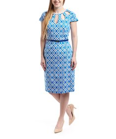 Loving this Appraisal Blue Lattice Sheath Dress on #zulily! #zulilyfinds