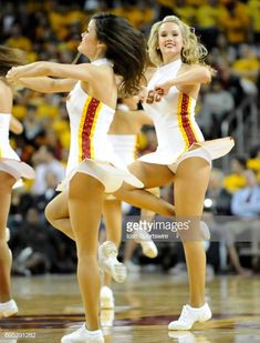USC song girls perform during a college basketball game between the Arizona State Sun Devils and the USC Trojans played at the Galen Center in Los Angeles CA. Get premium, high resolution news photos at Getty Images College Basketball, College Cheerleading, Basketball Court, Basketball Birthday, Kentucky Basketball, Sports Basketball, Kentucky Wildcats, Basketball Players, Cheerleader Images
