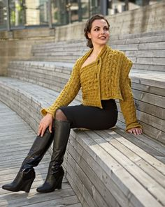 Familien Strikkebok Photoshoot: Shawl Sleeves. Photo: Kim Müller. Model: Francesca Golfetto. Hair & Make up stylist: Line Sekkingstad. Boots: Monica Stålvang