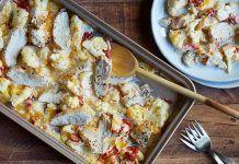 """Pollo con """"Mac and cheese"""" de coliflor Método Grez"""