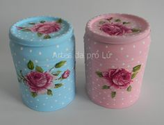 Napkin Decoupage, Decoupage Art, Diy Bottle, Bottle Crafts, Mason Jar Crafts, Mason Jar Diy, Tin Can Crafts, Diy And Crafts, Recycle Cans