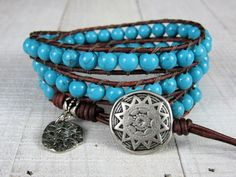 Southwestern Wrap Bracelet For Women or Men - Gemstone and Leather Wrap Bracelet - Triple Wrap Turquoise Bracelet - Gift for Her or Him
