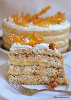 Tort Egiptean reteta pas cu pas | Savori Urbane Helathy Food, Romanian Desserts, Romanian Food, Afternoon Tea Cakes, Cheesecake, Elegant Desserts, Dessert Cake Recipes, French Pastries, Sweet Tarts