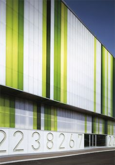 Grand Building of Vendita, Milan, Italy Parque Industrial, Industrial Park, Industrial Architecture, Contemporary Architecture, Factory Architecture, Colour Architecture, Facade Architecture, Building Exterior, Building Facade